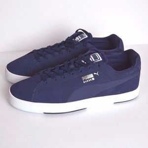 PUMA Men's Navy Suede S Modern Tech Sneaker